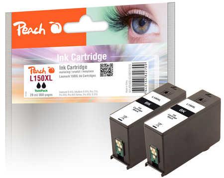 Peach  Doppelpack Tintenpatronen schwarz kompatibel zu Lexmark Intuition S 515