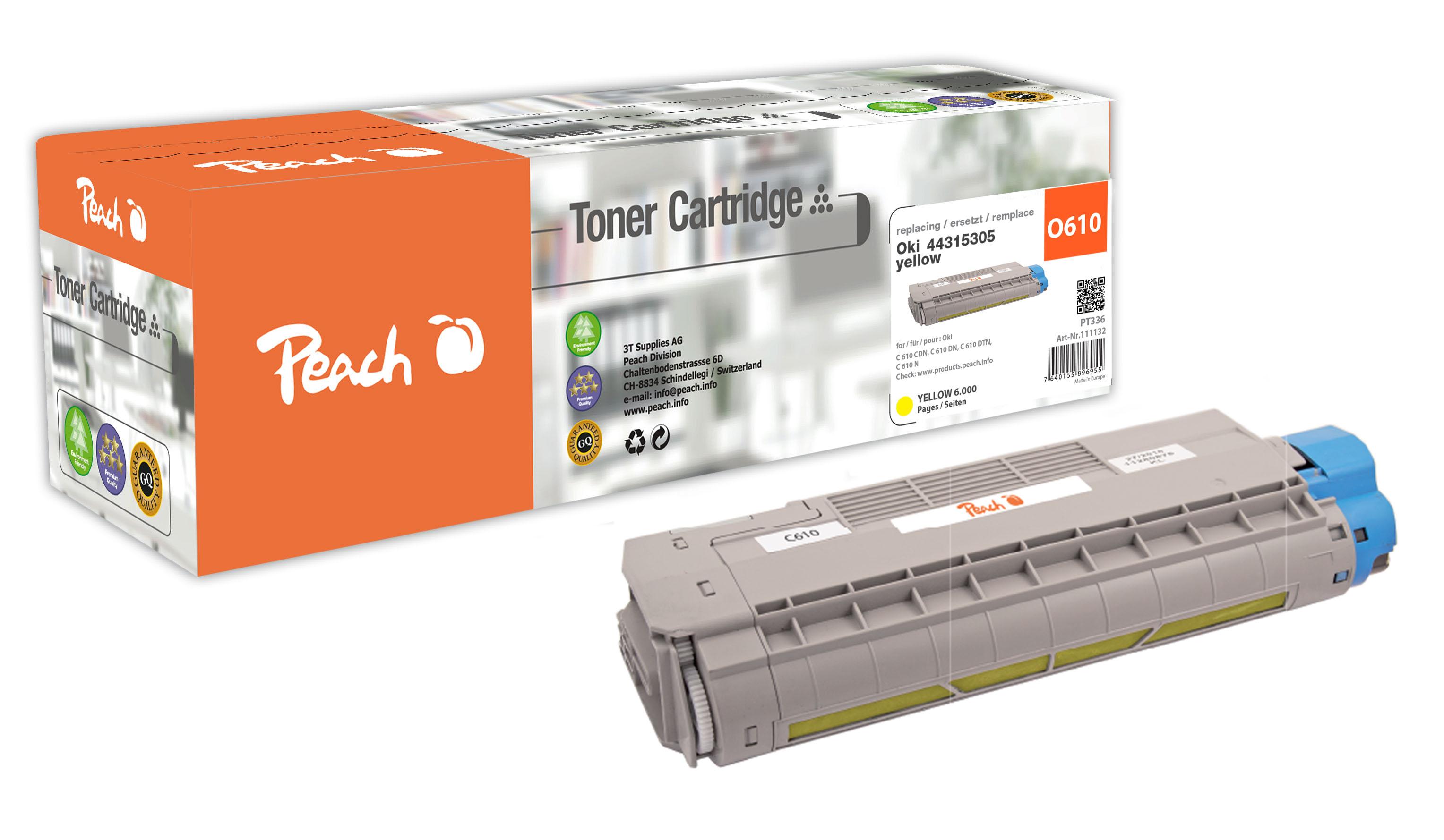Peach  Tonermodul gelb kompatibel zu OKI C 610 DN