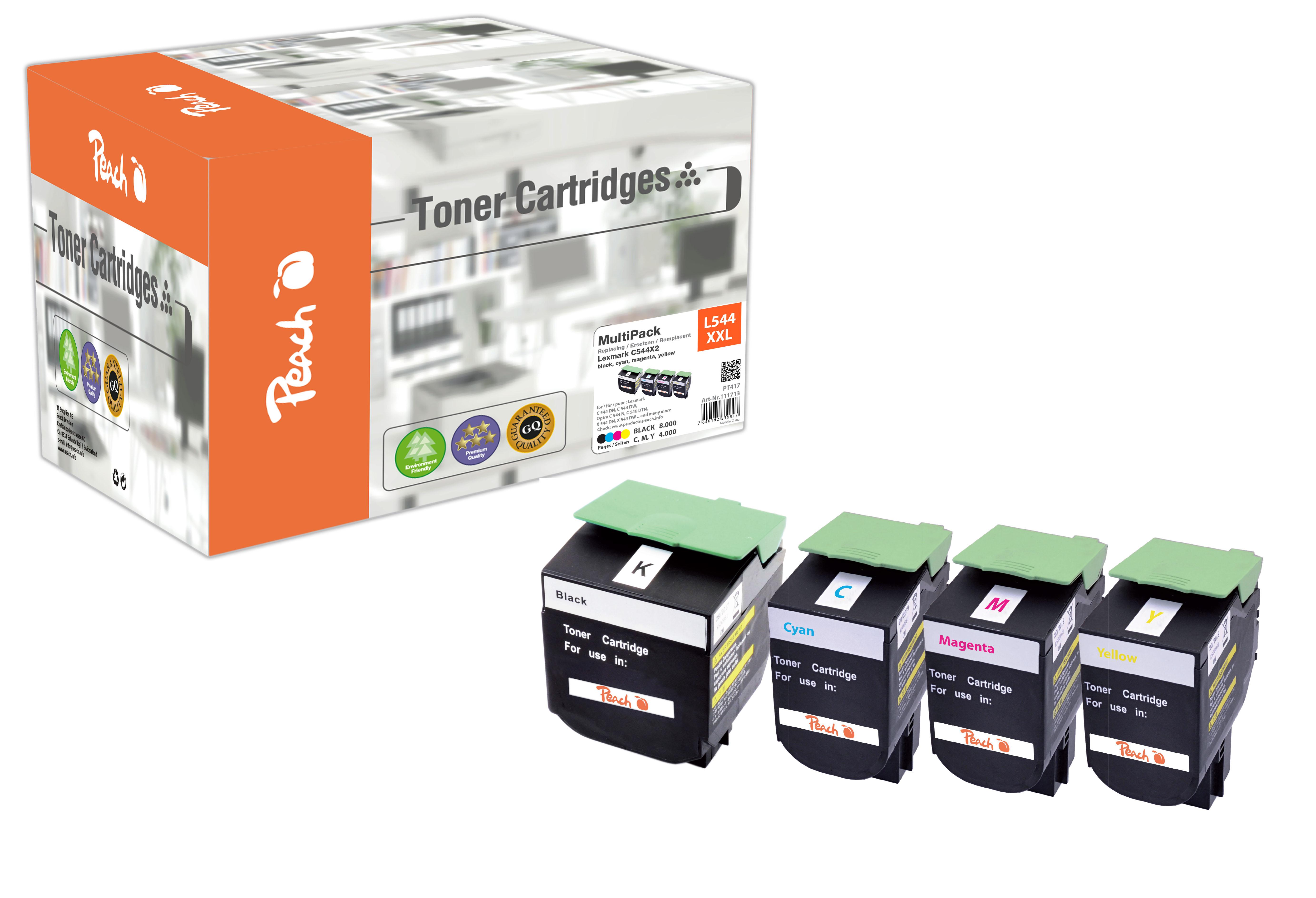 Peach  Spar Pack Tonermodule kompatibel zu Lexmark C 544 DN