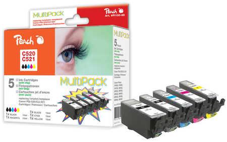 Peach  Spar Pack Tintenpatronen, XL-Ergiebigkeit, kompatibel zu Canon Pixma MP 620