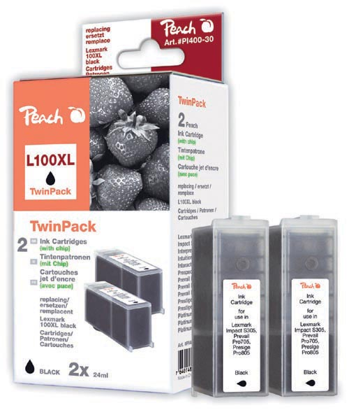 Peach  Doppelpack 2 Tintenpatronen schwarz kompatibel zu Lexmark Intuition S 508