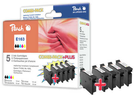Peach  Spar Pack Plus Tintenpatronen, kompatibel zu Epson WorkForce WF-2530 WF