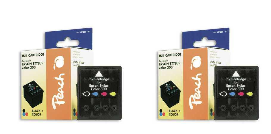 Peach  Doppelpack Tintenpatronen schwarz, color kompatibel zu Epson Stylus Color 300