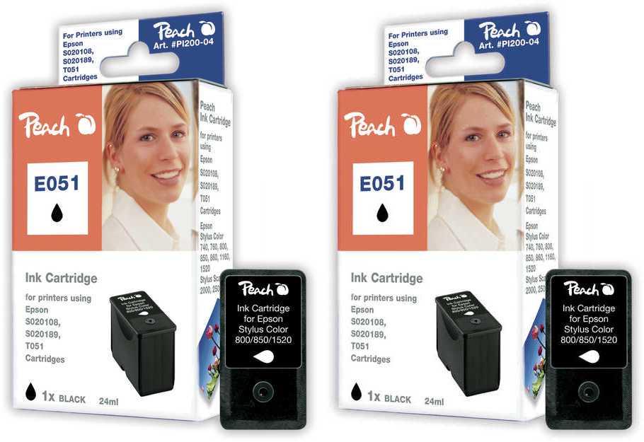 Peach  Doppelpack Tintenpatronen schwarz kompatibel zu Epson Stylus Color 1160