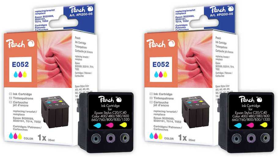 Peach  Doppelpack Tintenpatronen color kompatibel zu Epson Stylus Color 1160