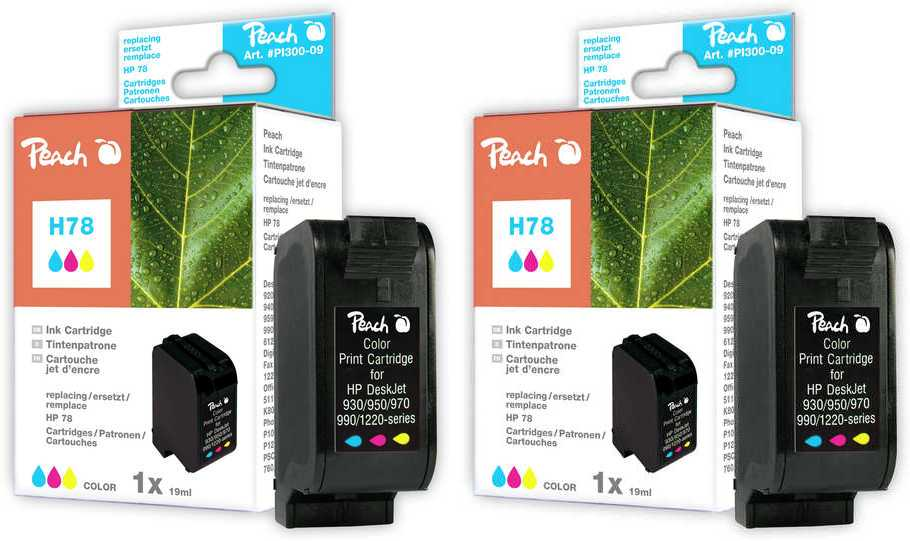 Peach  Doppelpack Druckköpfe color kompatibel zu HP DeskJet 3816
