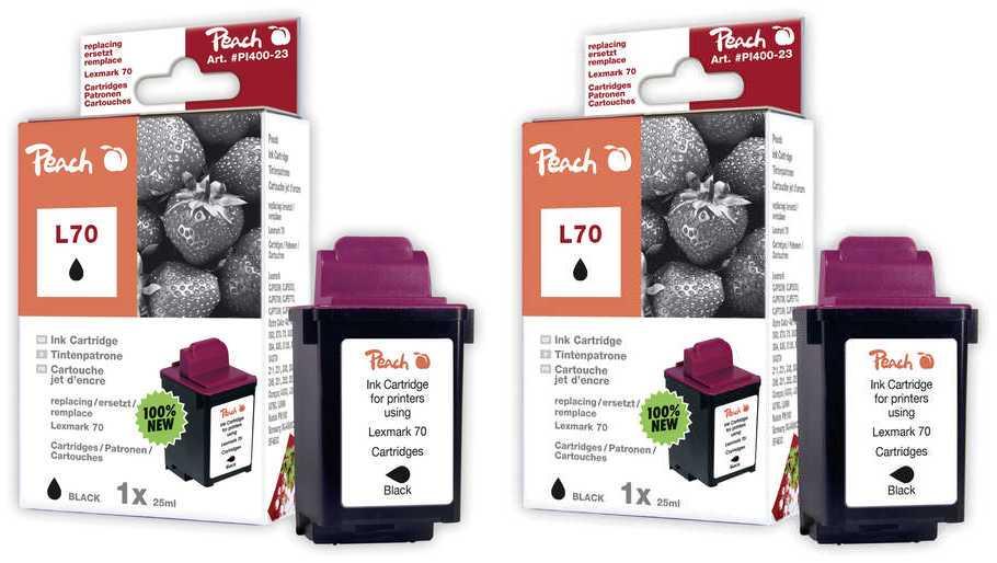 Peach  Doppelpack Druckköpfe schwarz kompatibel zu Lexmark F 4270