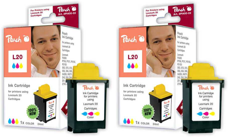Peach  Doppelpack Druckköpfe color kompatibel zu Lexmark F 4270