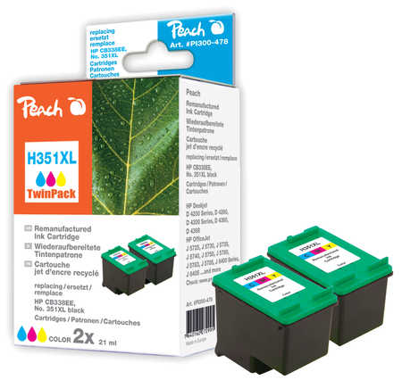 Peach  Doppelpack Druckköpfe color kompatibel zu HP PhotoSmart C 5240