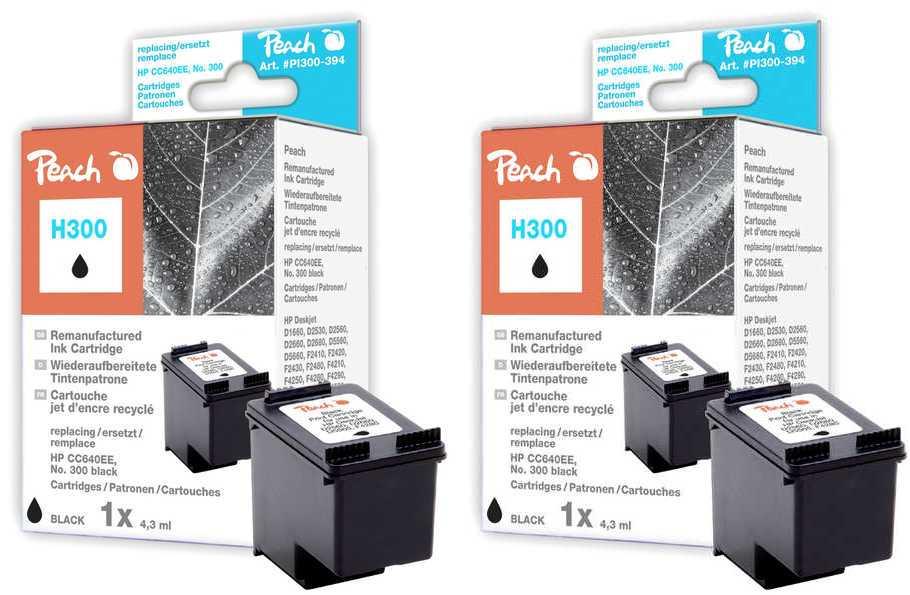 Peach  Doppelpack Druckköpfe schwarz kompatibel zu HP DeskJet F 4213
