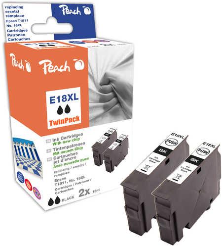 Peach  Doppelpack Tintenpatronen schwarz kompatibel zu Epson Expression Home XP-405