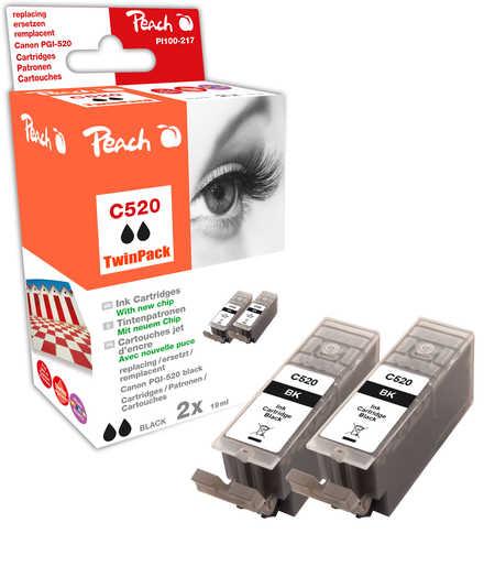 Peach  Doppelpack Tintenpatronen schwarz kompatibel zu Canon Pixma MP 620