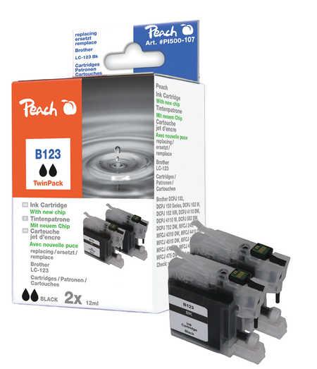 Peach  Doppelpack Tintenpatronen schwarz kompatibel zu Brother MFCJ 6520 DW