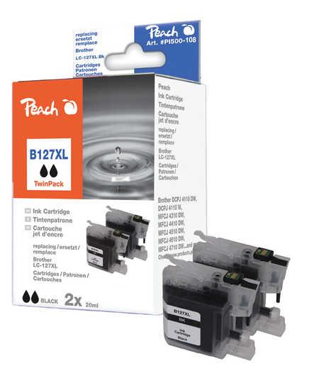 Peach  Doppelpack Tintenpatronen schwarz kompatibel zu Brother MFCJ 4310 DW