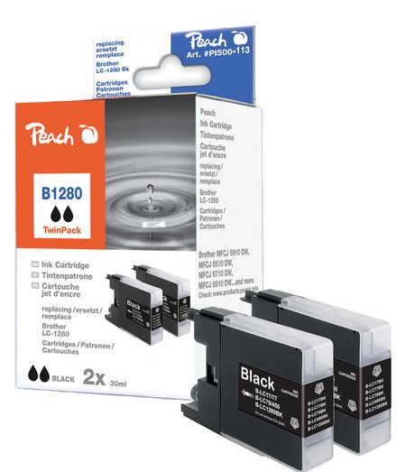 Peach  Doppelpack Tintenpatronen schwarz kompatibel zu Brother MFCJ 6510 DW