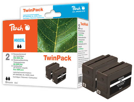 Peach  Doppelpack Tintenpatrone schwarz HC kompatibel zu HP OfficeJet 6700 Premium