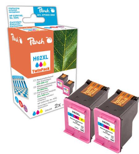 Peach  Doppelpack Druckköpfe color kompatibel zu HP Envy 5661 e-All-in-One