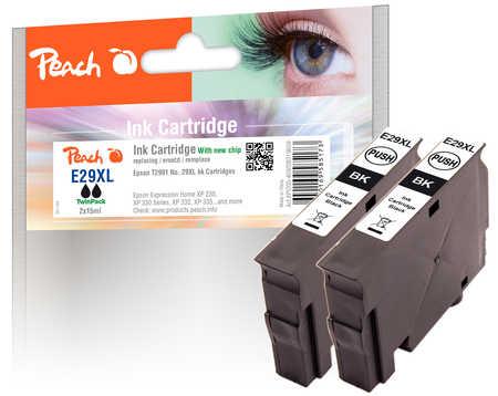Peach  Doppelpack Tintenpatronen XL schwarz kompatibel zu Epson Expression Home XP-442
