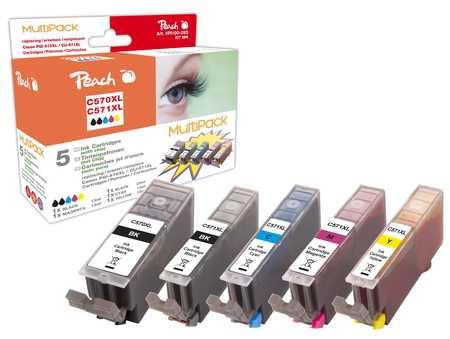 Peach  Spar Pack Tintenpatronen XL kompatibel zu Canon Pixma TS 6050 Series