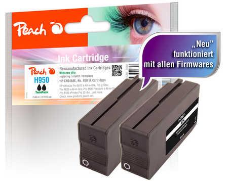 Peach  Doppelpack Tintenpatrone schwarz kompatibel zu HP OfficeJet Pro 251 dw