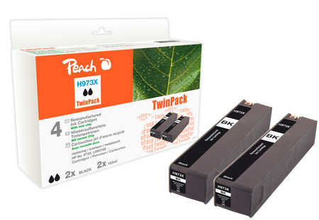 Peach  Doppelpack Tintenpatrone schwarz HC kompatibel zu HP PageWide Pro 477 dn