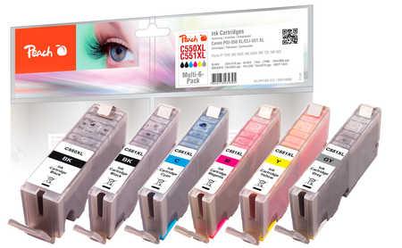 Peach  Spar Pack mit grau Tintenpatronen XL-Ergiebigkeit, kompatibel zu Canon Pixma MG 6350