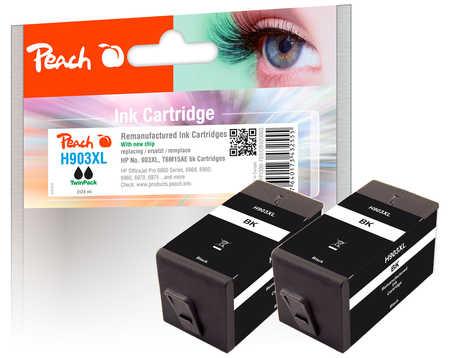 Peach  Doppelpack Tintenpatrone schwarz HC kompatibel zu HP OfficeJet Pro 6975